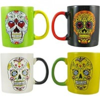 Set Of 4 DAY OF THE DEAD Sugar Skull Ceramic Coffee Mugs