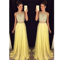 Vestido Longo De Renda Beaded Rhinestone Party Graduation Dresses 2 Piece Prom Dresses Yellow Long Evening Dress