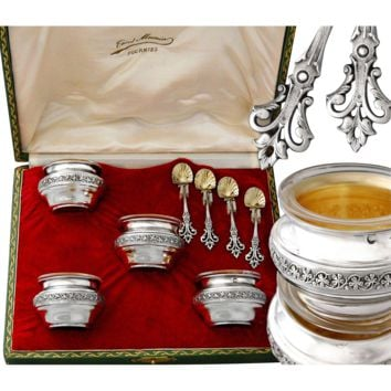 Boxed French Sterling Silver and Vermeil Open Salt Cellars and Spoons