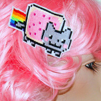 Nyan Cat Rainbow Embroidered Hair Snap Clip MTCoffinz