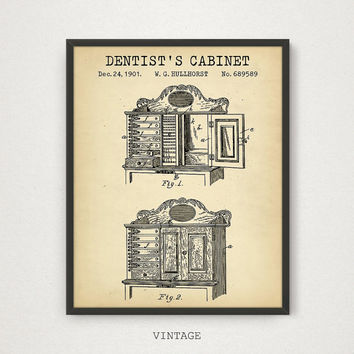 Dentist Cabinet Art Print, Dentist's Cabinet Patent, Digital Download, Dental Art, Dentist Decor, Dental Office Decor, Gift For Dentist