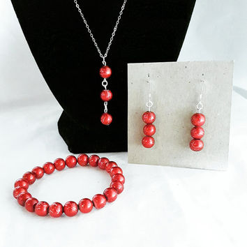 Jewelry Set 925 Sterling Silver, Red Beads With Silver Accents, Bracelet, Earrings, Necklace. Gifts For Her. Christmas Jewelry. Accessories.