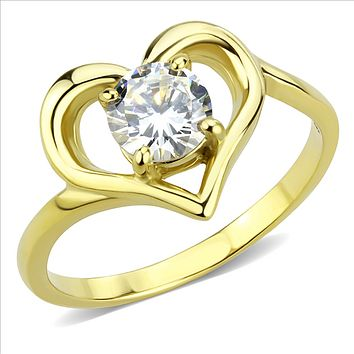 14K Yellow Gold 1CT Round Cut Solitaire Russian Lab Diamond Heart Ring
