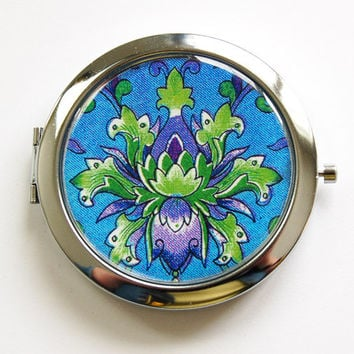 Pocket mirror, compact mirror, Venetian pattern, mirror, Blue, Purple, Green, Gift for her, Womens Accessory (3966)