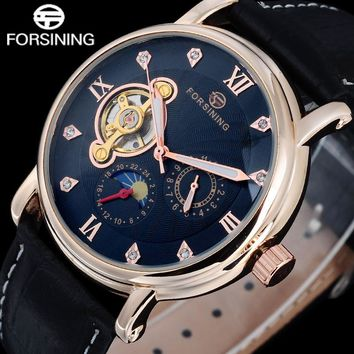 2017 top brand FORSINING Luxury men watches moon phase automatic Mechanical moon phase Rhinestone tourbillion wristwatches A824