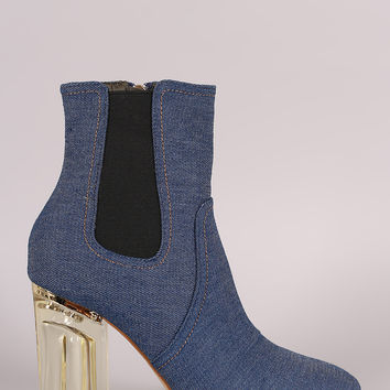 Denim Lucite Chunky Heeled Ankle Boots
