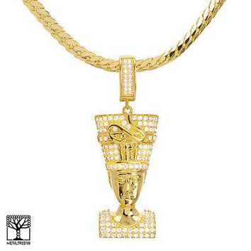 "Jewelry Kay style Men's CZ 14K Gold Plated Egyptian Pharaoh Pendant 24"" Chain Necklace BCH 13127 G"