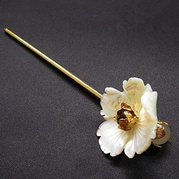 Hand Carved Natural Shell Flower Metal Hair Stick Garnet Stone Chinese Sticks Jewelry Vintage Hairpin Hair Accessories WIGO1059
