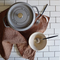 Handmade Dish Towel - Brown Striped Linen