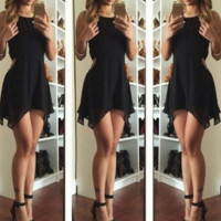 Solid color fashion sexy halter Halter dress