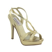 Gold prom shoes | Prom dresses | Prom shoes | Cheer by Dyeables 26613 Gold Metallic Platform Sandal | GownGarden.com