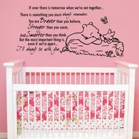 Quote Wall Decal Vinyl Sticker Decals Quotes Winnie the Pooh Quote - Braver Stronger Smarter - Nursery Decor Kids Baby Room Bedroom ZX211