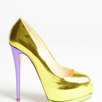 yellow and purple and green mirrored leather slingback platform pumps