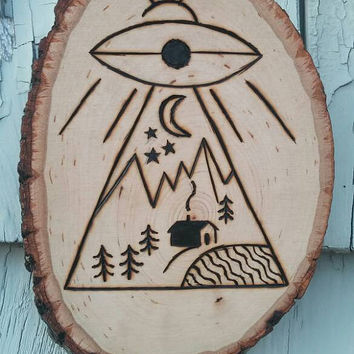 UFO Abduction Wood Burning