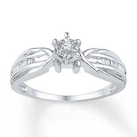 Diamond Promise Ring 1/6 ct tw Baguette/Round Sterling Silver