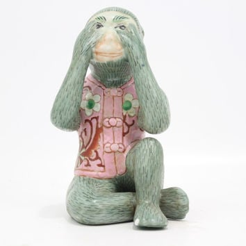 "Cute Porcelain Monkey in Suit See No Evil Figurine 8"" Small Chip"