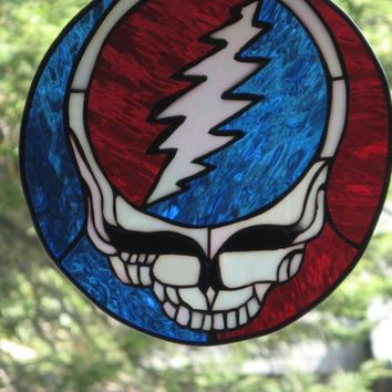 Grateful Dead Inspired Steal Your Face Stained Glass Panel