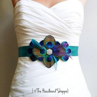 WINDSOR - Peacock Belt Bridal Sash in Teal Blue Turquoise and Purple