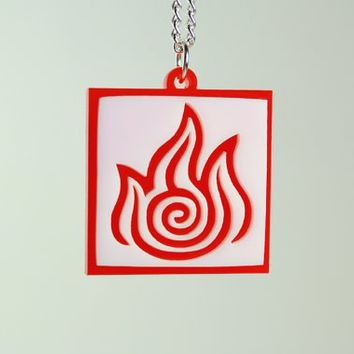Avatar Fire Bender Pendant Necklace  Laser Cut by LicketyCut