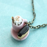 chocolate eclair and hot cocoa necklace