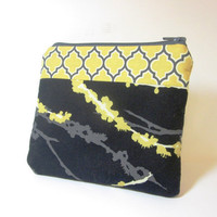 Small Cotton Zipper Pouch - Black and Yellow Branches and Lattice