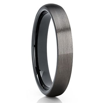 Gunmetal Tungsten Ring - 4mm Black Tungsten - Gunmetal Wedding Band