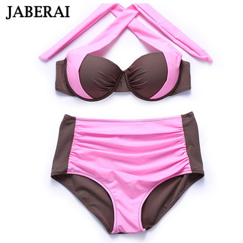 JABERAI Bikini Brand 2017 High Waist Swimsuit Plus Size Swimwear Sexy Women Bathing Suit Retro Sexy Halter Bikini Set Beach Wear