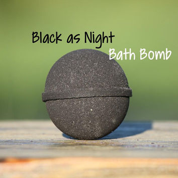 Black As Night Goat Milk Bath Bomb | Black Bath Bomb | Goth Bath Bomb / Fizzy