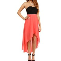 Black/Coral Hi Low Prom Dress