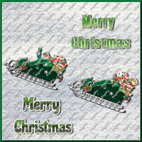 COMMERCIAL USE OK, 2 x Christmas Santa Sleigh, 2 x Christmas Words, Scrapbook, Card Making, 300dpi, Instant Download