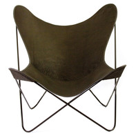 Bison Leather Butterfly Chair, Black, Accent & Occasional Chairs