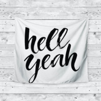 """""""Hell Yeah"""" Quote Home Decor Trendy Boho Wall Tapestry"""