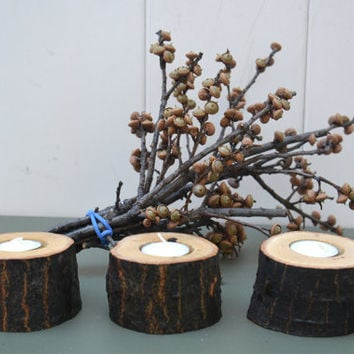 "Set of 12 Rustic 2"" Wood Candle Holder , Log Tree Branch Candle Holder , Rustic Wedding Centerpieces , Wood Tea Light Candle Holder"