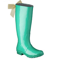 Mint Gloss Rain Boot with Custom Bow