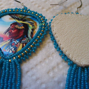 Native American dancer in regalia rosette beaded earrings