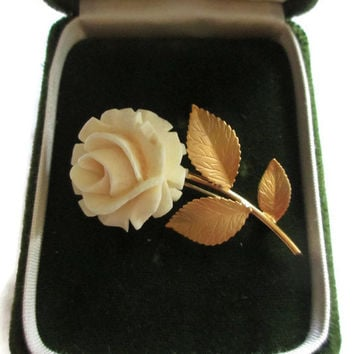Vintage C.R. Co. Reis Company, Inc. Genuine Ivory Hand Carved 12 Kt Gold Filled Cabbage Rose Pin - Original Box