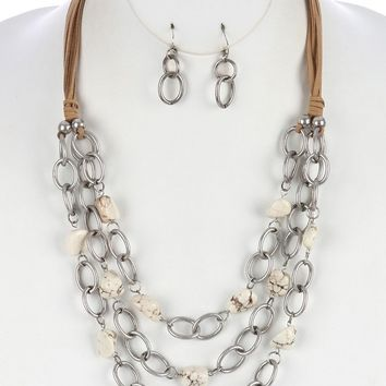 White Natural Stone Chunky Link Bib Necklace And Earring Set