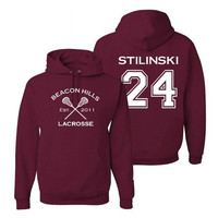 Stiles Stilinski 24 Teen Wolf Beacon Hills Inspired Lacrosse Adult Fashion Hoodie
