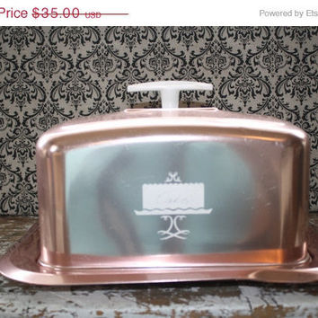 Vintage Metallic Pink Square Cake Carrier by VintageShoppingSpree