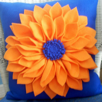 Univ. of Florida  orange and blue dahlia flower pillow, Gator fan pillow,accent pillow,throw pillow,U F fan pillow,UF alumni pillow