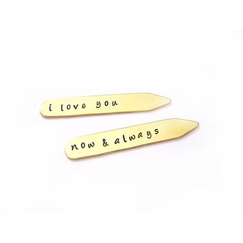I Love You Custom Message Hand Stamped Brass Monogrammed Collar Stays / Gift for Him