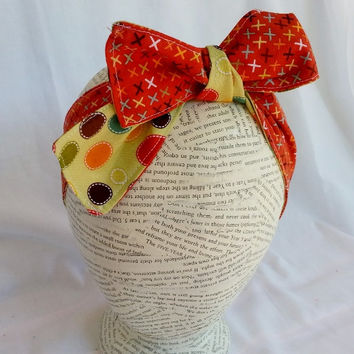 Reversible HeadWrap - Reversible Head Wrap - Size Child to Adult - Headband Headwrap - Orange Headband - Tie Headband - Polka Dot Headband -
