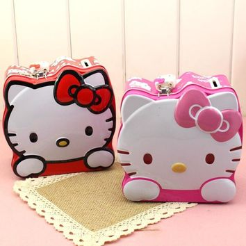 Lovely Moneybox Cartoon Hello Kitty Coin Piggy Bank Money Box Money Saving Box with Lock gift box candy boxes For Kids