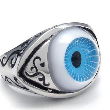 Rings 061: Evil Eye Ring, Halloween Gift, Charm Jewelry