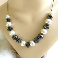 Vintage Slider Necklace with White Faux Pearls, Hematite Beads, Silver Pyrite Beads & Pave Marcasite Beads