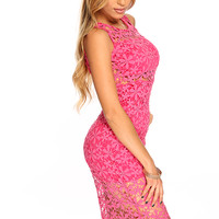 Fuchsia Floral Knitted Sleeveless Cute Summer Knee Length Dress