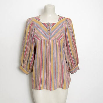 Vintage 1970s Byer California Boho Top / Striped Pullover w/ Bishop Sleeves / 70s Hippie Festival Shirt