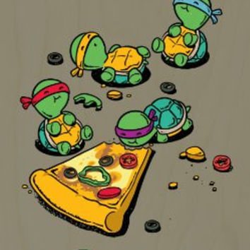 'Pizza Lover' TV Show Cartoon Movie Parody w/ Turtles Eating Pizza - Plywood Wood Print Poster Wall Art
