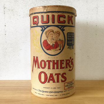 Quick Mother's Oats Cardboard Container / Quaker Oats Company / General Store / Farmhouse Rustic Kitchen Decor / Vintage Advertising