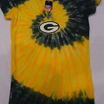 GREEN BAY PACKERS WOMENS JUNIORS  PETITE SWIRL Tie Dye  T-Shirt NFL Licensed